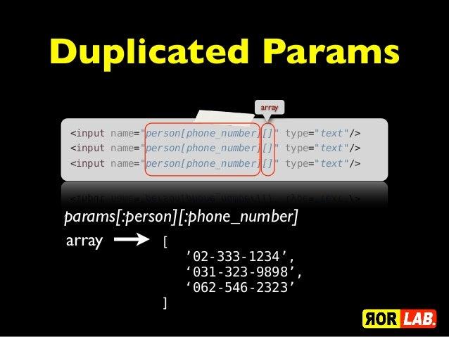 """Duplicated Params                                 array <input name=""""person[phone_number][]"""" type=""""text""""/> <input name=""""pe..."""