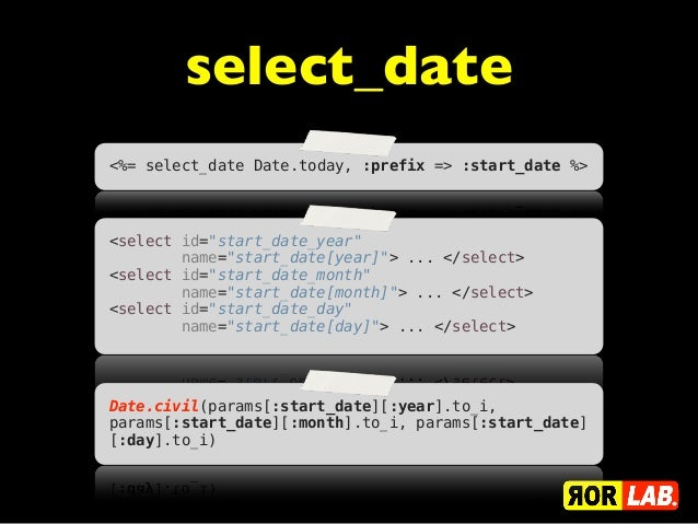 """select_date<%= select_date Date.today, :prefix => :start_date %><select id=""""start_date_year""""        name=""""start_date[year]..."""