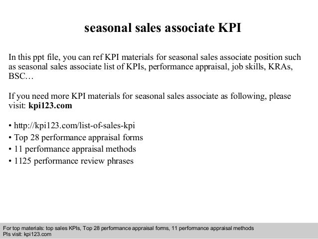seasonal sales associate KPI  In this ppt file, you can ref KPI materials for seasonal sales associate position such  as s...