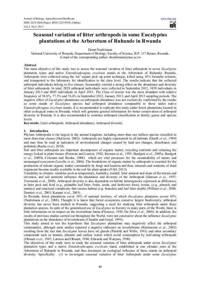 Journal of Biology, Agriculture and Healthcare www.iiste.org ISSN 2224-3208 (Paper) ISSN 2225-093X (Online) Vol.3, No.9, 2...