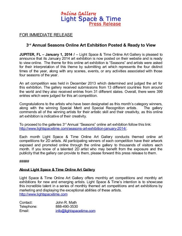 FOR IMMEDIATE RELEASE 3rd Annual Seasons Online Art Exhibition Posted & Ready to View JUPITER, FL – January 1, 2014 / -- L...