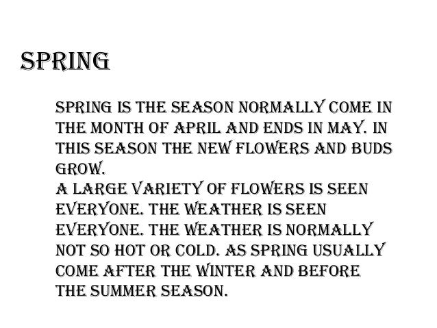 essay on my favourite season is spring Browse and read spring is my favourite season essay spring is my favourite season essay simple way to get the amazing book from experienced author.