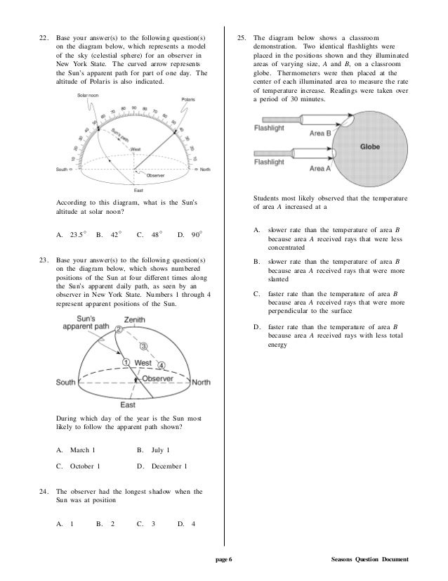 22. Base your answer(s) to the following question(s) on the diagram below, which represents a model of the sky (celestial ...