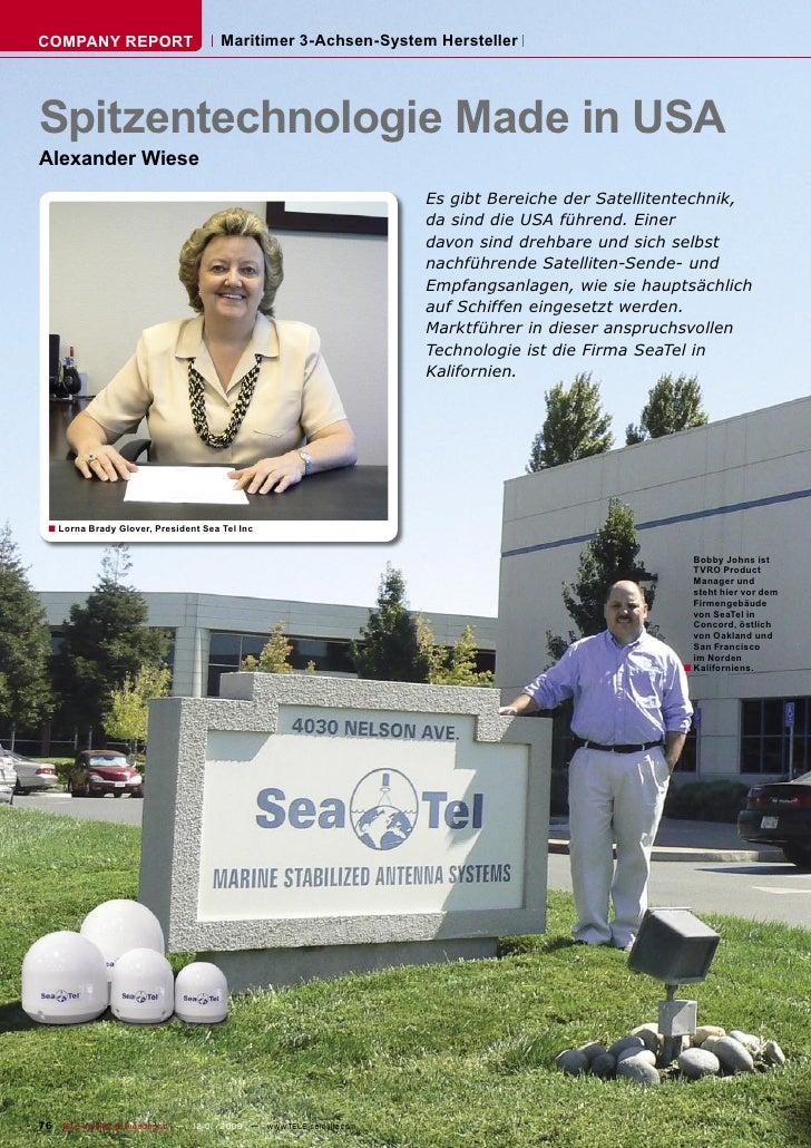 COMPANY REPORT                        Maritimer 3-Achsen-System Hersteller     Spitzentechnologie Made in USA Alexander Wi...
