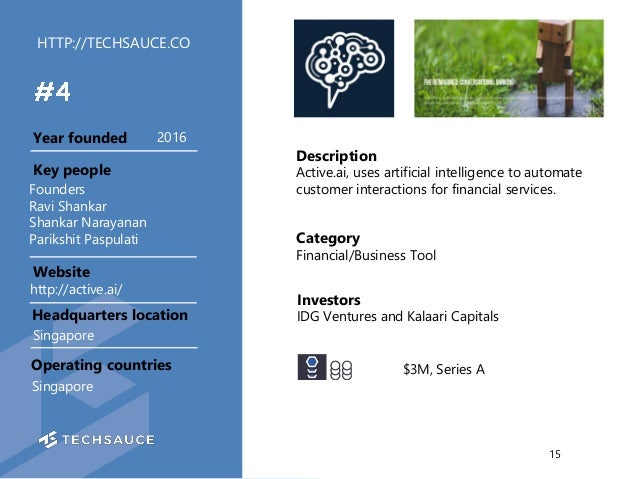 HTTP://TECHSAUCE.CO Description Active.ai, uses artificial intelligence to automate customer interactions for financial se...