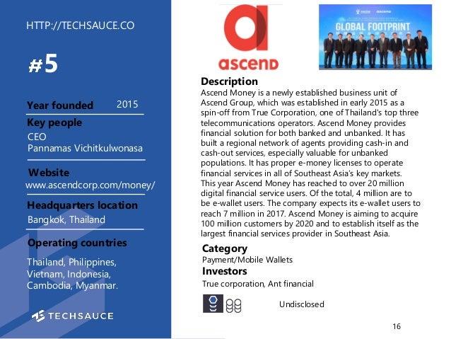 HTTP://TECHSAUCE.CO Description Ascend Money is a newly established business unit of Ascend Group, which was established i...