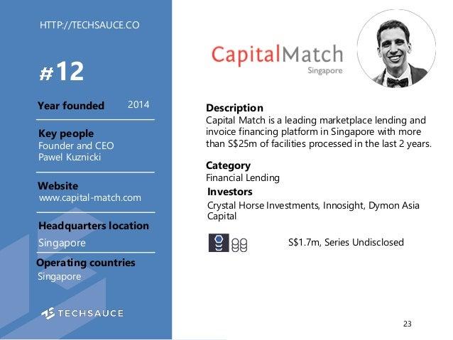 HTTP://TECHSAUCE.CO Description Capital Match is a leading marketplace lending and invoice financing platform in Singapore...