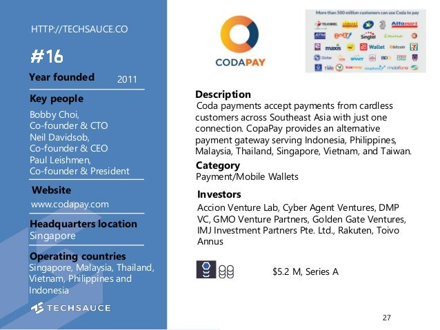 HTTP://TECHSAUCE.CO Description Coda payments accept payments from cardless customers across Southeast Asia with just one ...