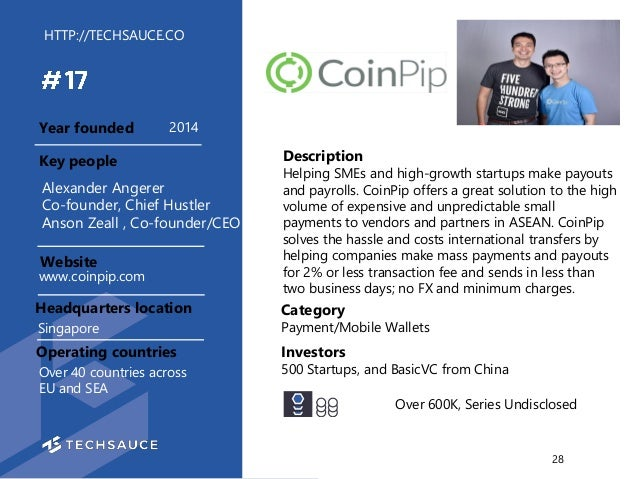 HTTP://TECHSAUCE.CO Description Helping SMEs and high-growth startups make payouts and payrolls. CoinPip offers a great so...