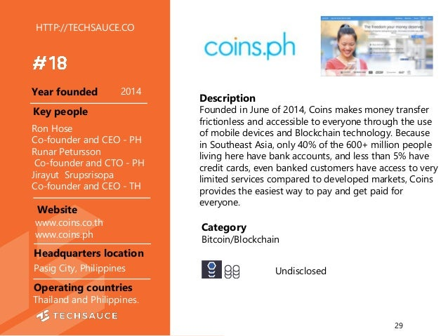HTTP://TECHSAUCE.CO Description Founded in June of 2014, Coins makes money transfer frictionless and accessible to everyon...