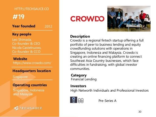 HTTP://TECHSAUCE.CO Description Crowdo is a regional fintech startup offering a full portfolio of peer to business lending...