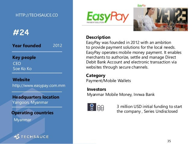 HTTP://TECHSAUCE.CO Description EasyPay was founded in 2012 with an ambition to provide payment solutions for the local ne...