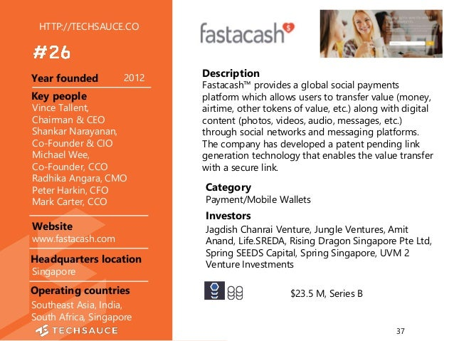 HTTP://TECHSAUCE.CO Description Fastacash™ provides a global social payments platform which allows users to transfer value...