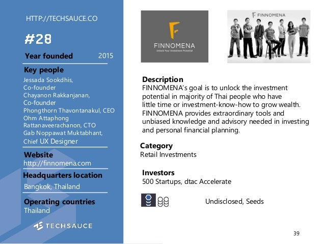HTTP://TECHSAUCE.CO Description FINNOMENA's goal is to unlock the investment potential in majority of Thai people who have...