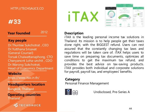 HTTP://TECHSAUCE.CO Description iTAX is the leading personal income tax solutions in Thailand. Its mission is to help peop...