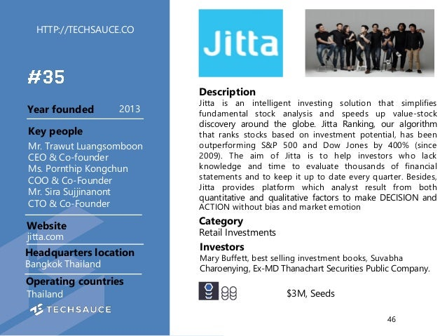 HTTP://TECHSAUCE.CO Description Jitta is an intelligent investing solution that simplifies fundamental stock analysis and ...