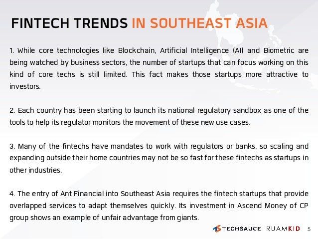 FINTECH TRENDS IN SOUTHEAST ASIA 1. While core technologies like Blockchain, Artificial Intelligence (AI) and Biometric ar...
