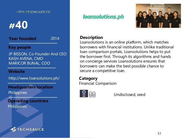 Description Loansolutions is an online platform, which matches borrowers with financial institutions. Unlike traditional l...