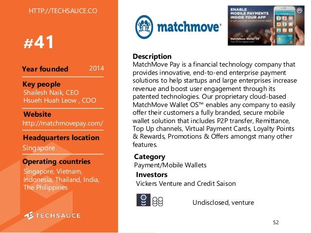HTTP://TECHSAUCE.CO Description MatchMove Pay is a financial technology company that provides innovative, end-to-end enter...