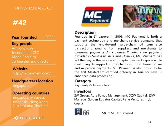 Description Founded in Singapore in 2005, MC Payment is both a payment technology and merchant service company that suppor...