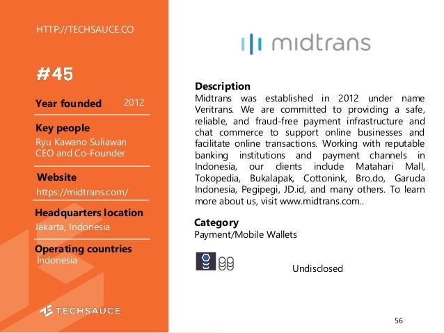 HTTP://TECHSAUCE.CO Description Midtrans was established in 2012 under name Veritrans. We are committed to providing a saf...