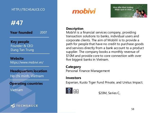 HTTP://TECHSAUCE.CO Description MobiVi is a financial services company, providing transaction solutions to banks, individu...