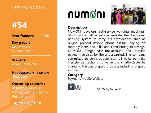 HTTP://TECHSAUCE.CO Description NUMONI develops self-service vending machines, which would allow people outside the tradit...