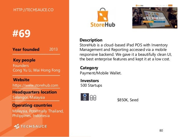 HTTP://TECHSAUCE.CO Description StoreHub is a cloud-based iPad POS with Inventory Management and Reporting accessed via a ...