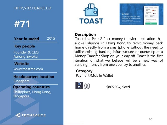 HTTP://TECHSAUCE.CO Description Toast is a Peer 2 Peer money transfer application that allows Filipinos in Hong Kong to re...