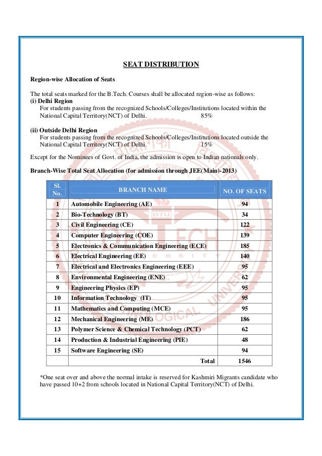SEAT DISTRIBUTION Region-wise Allocation of Seats The total seats marked for the B.Tech. Courses shall be allocated region...