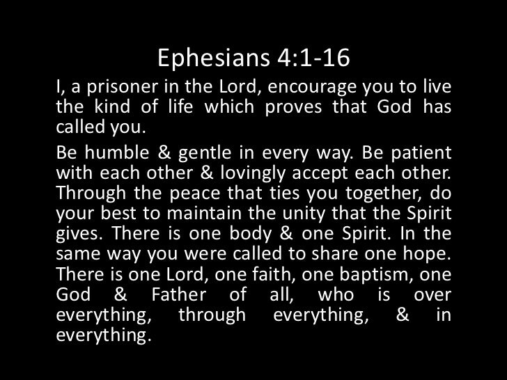 Ephesians 4:1-16Gods favor has been given to each of us. It wasmeasured out to us by Christ who gave it. Thats whythe Scri...