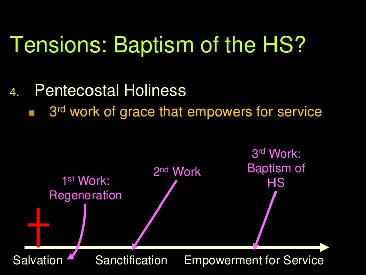 Tensions: Baptism of the HS?5.   Classical Pentecostalism / AOG        Close to #3, above (Keswick / CMA)        2 works...