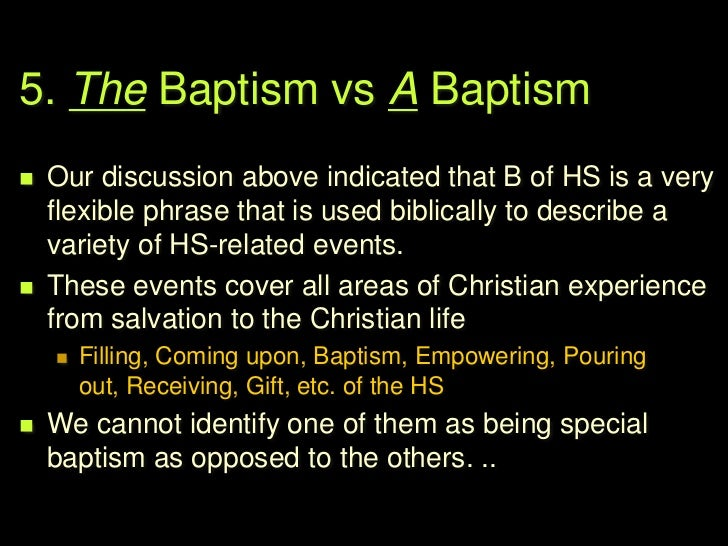6. Does Baptism of the HS              relate to …       Inner sanctification? OR         Service & Witness?