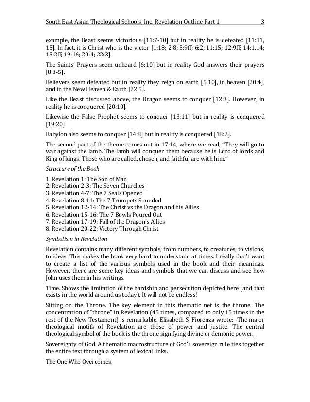 Seats V Revelation Outline For Translation Part 1