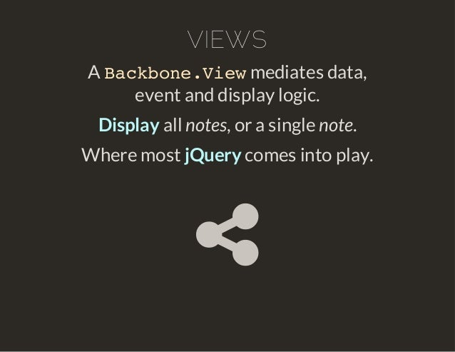 VIEWS  Backbone.View  A mediates data,  event and display logic.  Display all notes, or a single note.  Where most jQuery ...