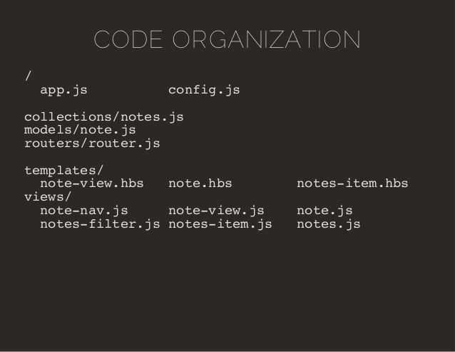 CODE ORGANIZATION  /  app.js config.js  collections/notes.js  models/note.js  routers/router.js  templates/  note-view.hbs...