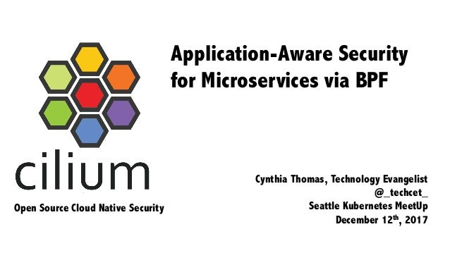 Application-Aware Security for Microservices via BPF Cynthia Thomas, Technology Evangelist @_techcet_ Seattle Kubernetes M...