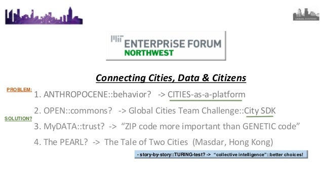 Connecting Cities, Data & Citizens 1. ANTHROPOCENE::behavior? -> CITIES-as-a-platform 2. OPEN::commons? -> Global Cities T...