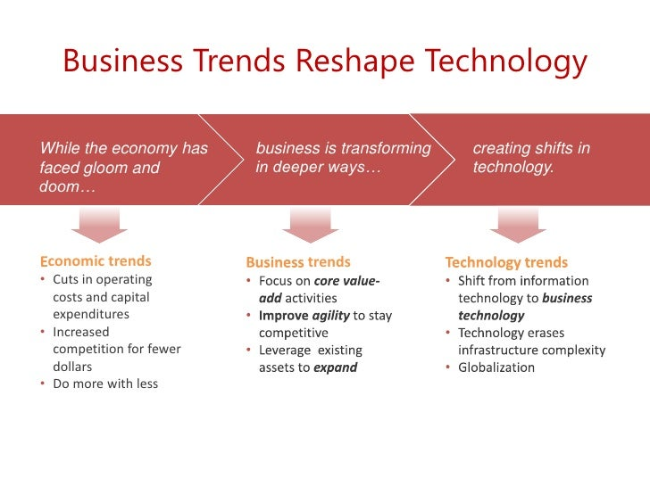 Business Trends Reshape Technology<br />business is transforming in deeper ways…<br />While the economy has faced gloom an...
