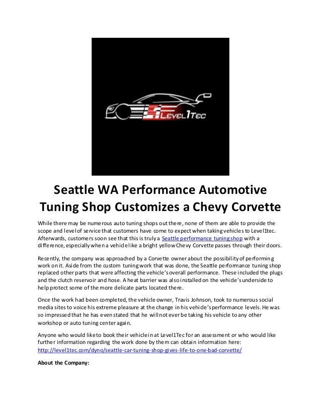Seattle wa performance automotive tuning shop customizes a chevy corv…