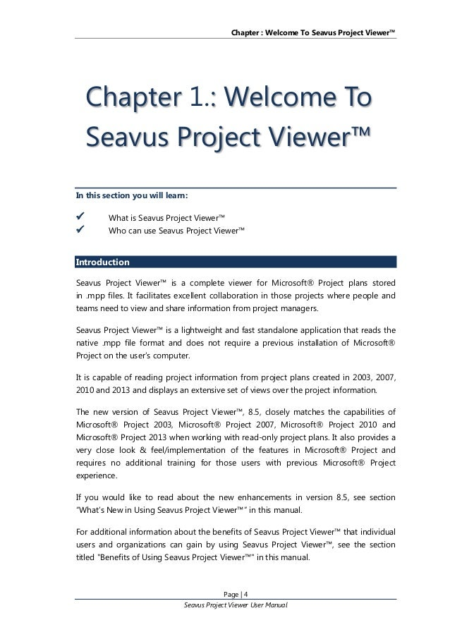 Seavus Project Viewer user manual
