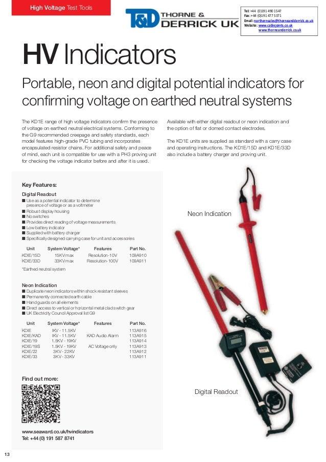 Salisbury High Voltage Tester : Seaward kd e d digital high voltage kv indicator