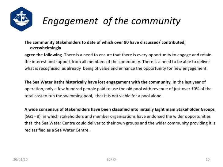 <ul><ul><ul><li>The community Stakeholders to date of which over 80 have discussed/ contributed, overwhelmingly  </li></ul...