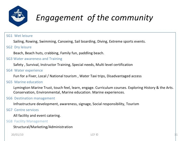 Engagement  of the community <ul><li>SG1  Wet leisure   </li></ul><ul><li>Sailing, Rowing, Swimming, Canoeing, Sail boardi...