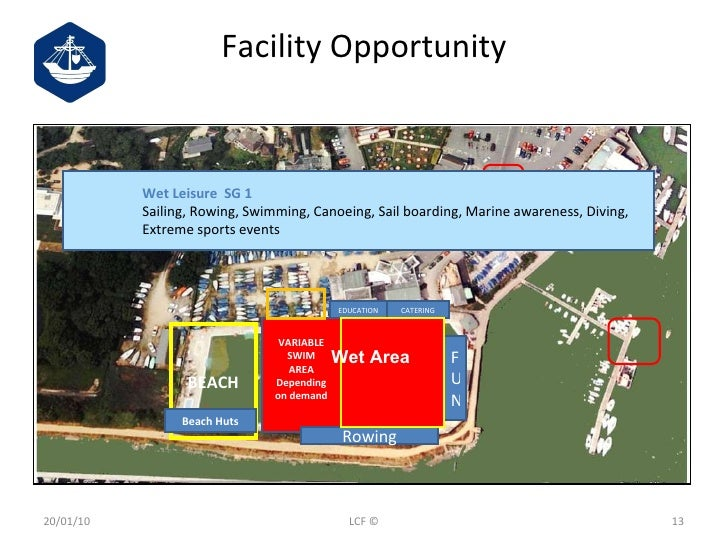 Facility Opportunity 20/01/10 LCF © BEACH VARIABLE SWIM AREA Depending on demand Beach Huts Rowing F U N EDUCATION CATERIN...