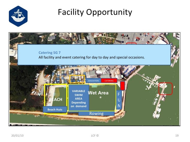 Facility Opportunity 20/01/10 LCF © BEACH VARIABLE SWIM AREA Depending on  demand Beach Huts Rowing F U N EDUCATION CATERI...