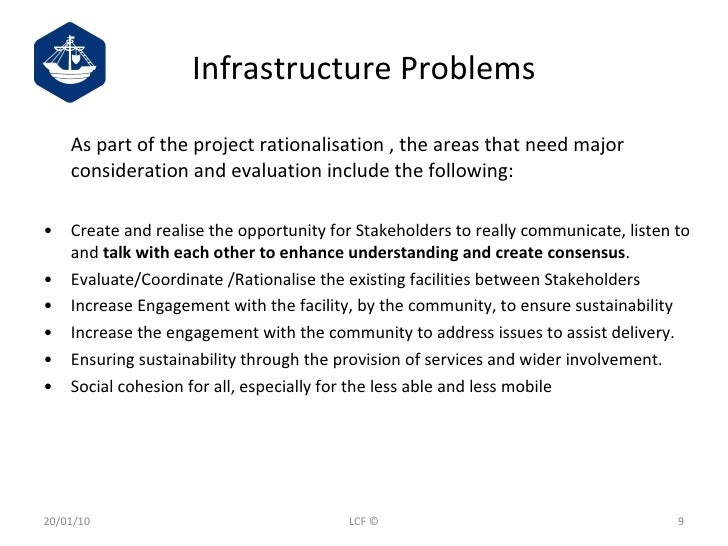 Infrastructure Problems <ul><li>As part of the project rationalisation , the areas that need major consideration and evalu...