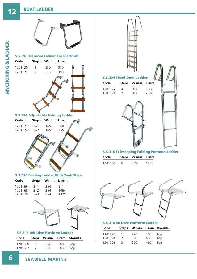 "3-Step Under Platform Boat Boarding Stainless Telescoping Ladder  8-1//4/""x 1-3//4/"""