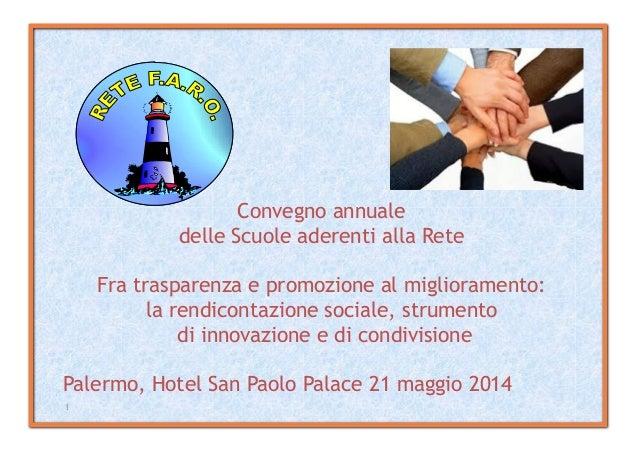 1 Convegno annuale delle Scuole aderenti alla Rete Fra trasparenza e promozione al miglioramento: la rendicontazione socia...