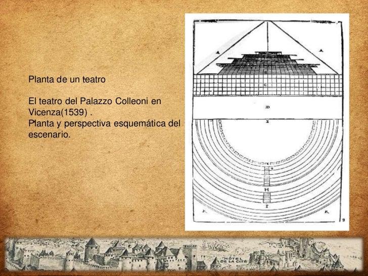 Planta de un teatroEl teatro del Palazzo Colleoni enVicenza(1539) .Planta y perspectiva esquemática delescenario.